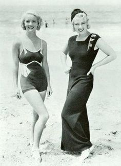 Looking forward to a holiday in the sun. Image: Bette Davis in a swimsuit, and Joan Blondell in beach pyjamas in the early 1930s vintage fashion style pajamas wide leg pants movie star icons