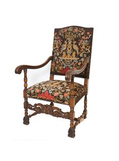 French Antique Louis XIV-style Needlepoint Armchair