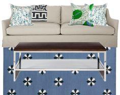 Megan Adams pillows + Christopher Farr Cloth Carnival + MW rug
