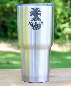 Stainless Steel Pineapple Personalized 30-Oz. Tumbler #zulily #zulilyfinds