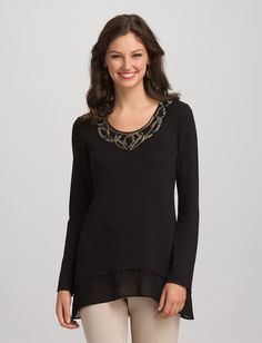 Knit embellished collar chiffon bottom long sleeve blouse
