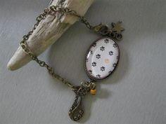 bracelet °chat°  chaine bronze, verre de Les3filles sur DaWanda.com