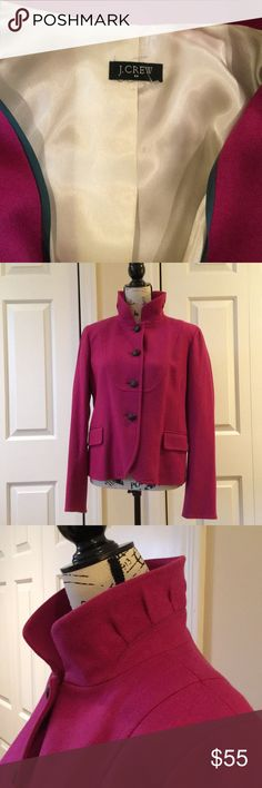 J Crew pink wool blazer jacket Sz Large $138 Stunning raspberry pink wool jacket from j Crew. Fully lined, front pockets still sewn closed. In excellent as new condition. Size large Bust measures 22 inches across, waist 18 1/2 inches, 24 inches long, $138 J. Crew Jackets & Coats