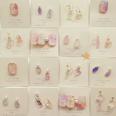 Lovely collection and color palette Resin Jewelry, Jewelry Art, Jewellery, Handmade Accessories, Handmade Jewelry, Diy Resin Crafts, Resin Charms, Earring Cards, Jewelry Making Tutorials