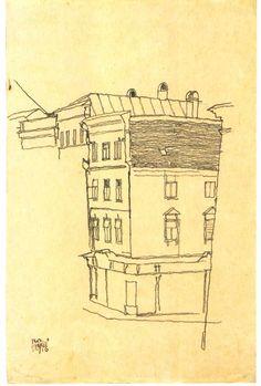 Street corner in Krumau Straßenecke in Krumau 1916 Egon Schiele via upload.wikimedia.org