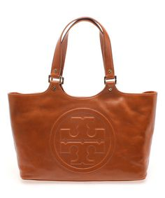 This Luggage Brown Bombe Burch Leather Tote by Tory Burch is perfect! #zulilyfinds