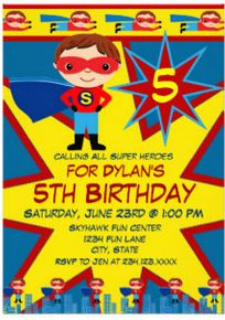 Boys Superhero Birthday Party Invitation