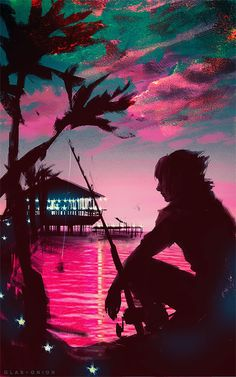 """glas-onion: """" Noctis Lucis Caelum, Galdin Quay © Final Fantasy XV, Square Enix, Sony Listening to super sad songs of Florence + The Machine """" Noctis Final Fantasy, Arte Final Fantasy, Final Fantasy Artwork, Fantasy Series, Final Fantasy Xv Wallpapers, Fantasy Images, Creepers, Noctis Lucis Caelum, M Anime"""