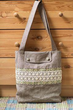 Grey linen cotton boho women's tote bag shoulder bag by SomBags