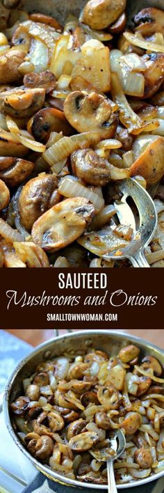 Sauteed Mushrooms and Onions (serves These deliciously easy Sauteed Mushrooms and Onions make the perfect side, topping for grilled steak, or light dinner. This six ingredient recipe comes together quickly and tastes amazing. Mushrooms and Onions Onion Recipes, Mushroom Recipes, Vegetable Recipes, Vegetarian Recipes, Cooking Recipes, Healthy Recipes, Recipes For Mushrooms, Potato Recipes, Pasta Recipes