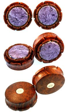 Narra burl flowers inlaid with Charoite set in gold. Custom project by Jared A. Karnes of Onetribe. Plugs Earrings, Gauges Plugs, Ear Jewelry, Body Jewelry, Jewellery, Stretched Ear Lobes, Organic Plugs, Wood Plugs, Thing 1