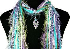 Peacock Necklace Scarf ~ 4 season scarf ~ Unique gift by Fiber Art Accents