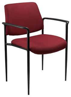 Boss Office Products B9503-BY Boss Square Back Diamond Stacking Chair W/Arm In Burgundy