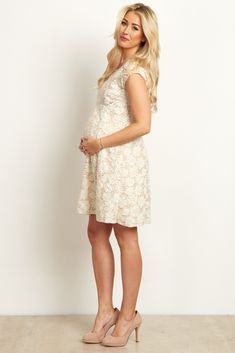 Ivory-Floral-Lace-Maternity-Dress
