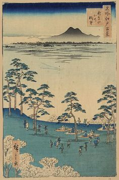 Hiroshige.  I like the treatment of the distant landscape. From the Library of Congress' collection of Japanese prints. If you click through to the L.O.C., you can download a huge TIFF.
