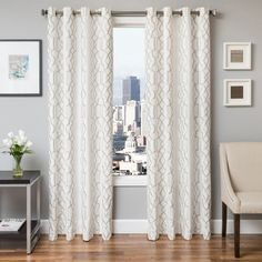 Softline Tyler Embroidered Grommet Top Curtain Panel