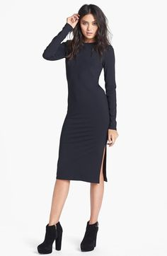 Leith Long Sleeve Knit Midi Dress | Nordstrom