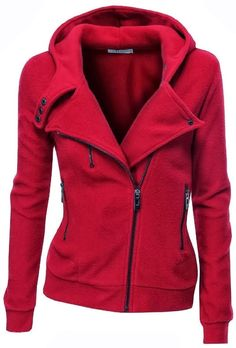 Women Lady Fashion: Amazing Red Warm Fleece Zip-Up Hoodie