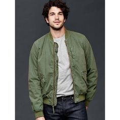 Gap Men Canvas Bomber Jacket ($98) ❤ liked on Polyvore featuring men's fashion, men's clothing, men's outerwear, men's jackets, green khaki and tall