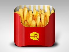 Fries App Icon by Ryan Ford. 18 Mouthwatering Food #App #Icons