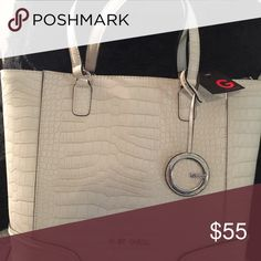 Guess Tote Purse New. Roomy. Ivory or creme color. 16x13 7 inch handle. G by Guess. G by Guess Bags Totes
