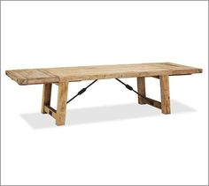 """Kitchen table-- add bench and chairs from world market Benchwright Reclaimed Wood Extending Dining Table, 86 x 42"""", Waxed Pine"""