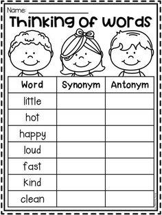 First Grade Worksheets, School Worksheets, Grammar Worksheets, Synonym Worksheet, English Worksheets For Kids, English Activities, Teaching Writing, Teaching Kids, Teaching Vowels