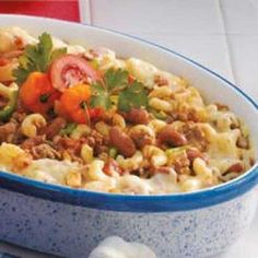 Southwestern Casserole: elbow macaroni, ground beef, onions, garlic cloves, diced tomatoes, kidney beans, tomato paste, green chilies, salt, chili powder, ground cumin, pepper, shredded Monterey Jack cheese, jalapeno chilies