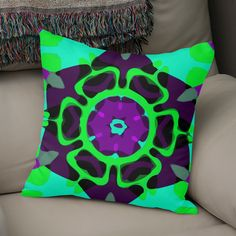 Discover «Purple Green Mandala Modernism Fractal Art», Exclusive Edition Throw Pillow by Vicky Brago-Mitchell - From $29.5 - Curioos