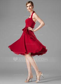Bridesmaid Dresses - $88.99 - A-Line/Princess Halter Knee-Length Chiffon Bridesmaid Dress With Ruffle (007001816) http://jjshouse.com/A-Line-Princess-Halter-Knee-Length-Chiffon-Bridesmaid-Dress-With-Ruffle-007001816-g1816