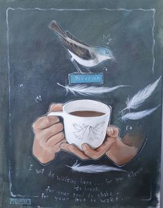 Devotion. Painting with a message, feathers, bird, hands holding coffee, Mariaan Kotze, South African Artist. Beauty