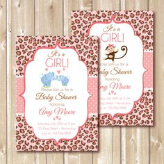 Baby Shower Invitation. Baby girl. Cheetah by AlapipetuaDesign
