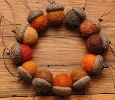Acorn wreath with felt acorns.