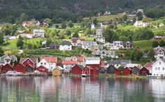 Village Solvorn on Sognefjord. By Sergej Sch
