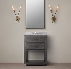 La Salle Metal-Wrapped Powder Room Washstand