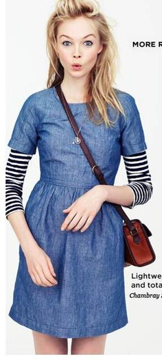 chambray dress + striped shirt + necklace = great fall layering!