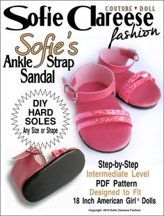 Fit For 18/'/' American Girl Hot Pink Flat Shoes Sandal Doll Clothes Footwear