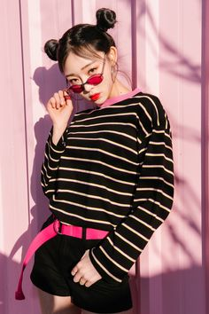 #mixxmix Contrast Collar Striped Top (BVWL) - For a hip street appeal, use this…