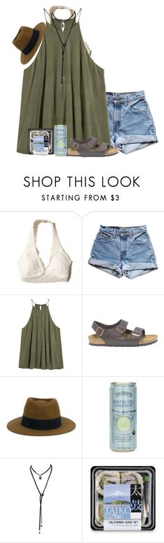 """going to the beach with Summer and Erin!"" by alexislynea-804 on Polyvore featuring Hollister Co., Levi's, Birkenstock and Maison Michel"