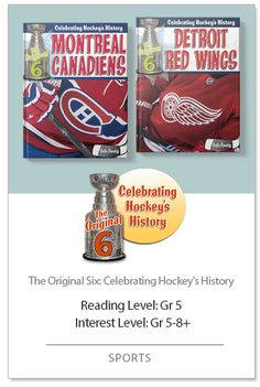 """Marking the 100th anniversary of the NHL and the 125th anniversary of the Stanley Cup, this is a must-read series for hockey fans and newcomers to the sport. Each book is a fact-filled journey of one of the """"Original Six"""" teams—Bruins, Blackhawks, Red Wings, Canadiens, Rangers, and Maple Leafs. Exciting photographs highlight the stories of hockey heroes, puck palaces, colorful coaches, and tempestuous team rivalries. Infographic spreads provide readers with at-a-glance information on…"""