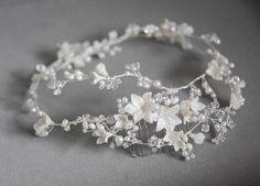 Reem Acra inspired | Silver bridal hair vine for long braid