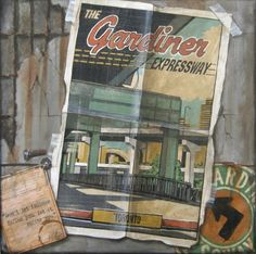 "Vintage-style ""Gardiner Expressway"" poster; by Rod Croxford, via spacing.ca. Vintage Style, Vintage Fashion, Toronto, Nostalgia, History, Modern, Poster, Painting, Design"