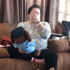 Emotional video shows a mom hearing the voice of her late son, who was a police officer, through a teddy bear dressed in an officer's…