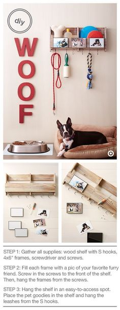 Treat your pooch (and yourself) to a cute and useful DIY pet organization project. There's a place for everything — treats, toys, leash, shampoo and the oh-so-necessary lint roller! Here's what you need: Wood Shelf with S Hooks, Room Essentials Pet Organization, Dog Rooms, Ideias Diy, Diy Stuffed Animals, Dog Supplies, Pet Care, Declutter, Puppy Love, Your Pet