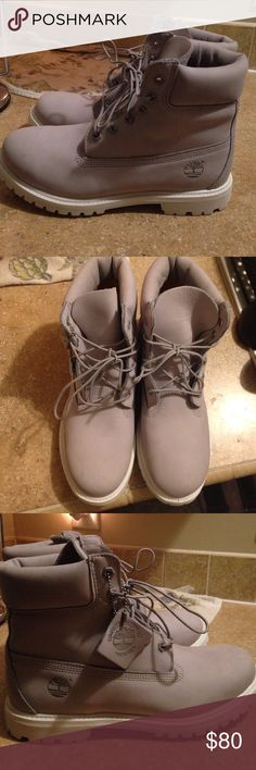 Brand New Gray Timberlands These are a size 10 but they don't fit me right, they fit more like a 9. Unfortunately they're non returnable so I'm selling them here since they don't fit me. They're brand new and have never been worn. Just tried on. Timberland Shoes Combat & Moto Boots