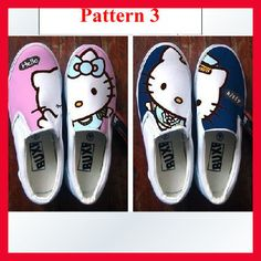 hello kitty shoes  HandPainted Women Girl's Canvas Shoes sneaker   canvas shoes. $29.99, via Etsy.