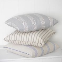 A great selection of luxury linen and ticking stripe scatter cushions. Inspired by French country design and vintage style interiors. Striped Chair, Striped Cushions, Ticking Stripe, Scatter Cushions, Linen Curtains, Linen Bedding, Bedding Sets, Bed Linens, Bed Linen Design