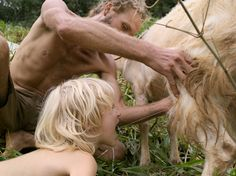 Andrew and Taurin Drinking Raw Goat's Milk / photo by Lucas Foglia