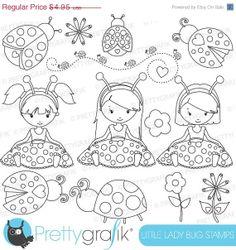 80% OFF SALE ladybug girls stamp commercial use, vector graphics, digital stamp, digital images - DS618