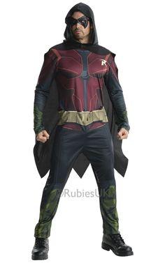Robin: Arkham City. Moderni, tummasävyinen haalari on näyttävä naamiaisasu, jonka hupullinen viitta sekä silmämaski täydentävät. Voit yhdistää voimasi yhdessä ystäväsi kanssa ja Batman -naamiaisasun kanssa muodostatte taatusti teemajuhlien kovimman kaksikon.